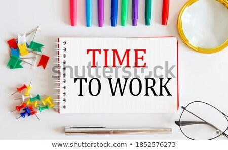 Munka szó iroda szerszámok fa asztal iskola Stock fotó © fuzzbones0