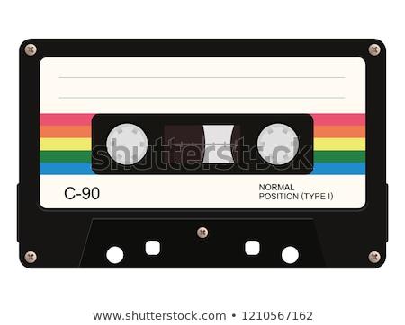 Kazetta kék szín piros címke terv Stock fotó © bluering