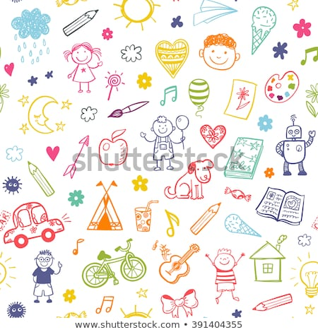 seamless background of doodle arrows stock photo © pakete