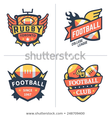 College rugby and american football team, campus, college badges, logos labels insignias in retro st Stock photo © JeksonGraphics