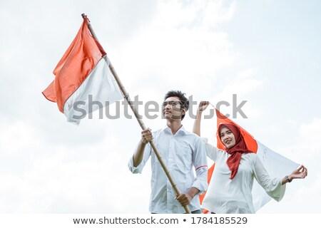 Indonéz fiú piros póló illusztráció boldog Stock fotó © bluering