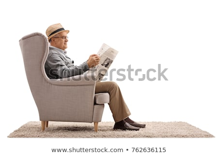 Person reading newspaper on white background Stock photo © blotty