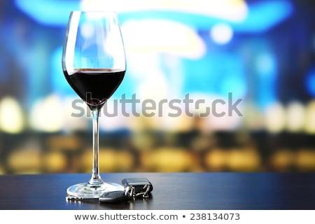 ガラス 赤ワイン 車のキー 表 バー 車 ストックフォト © jaykayl