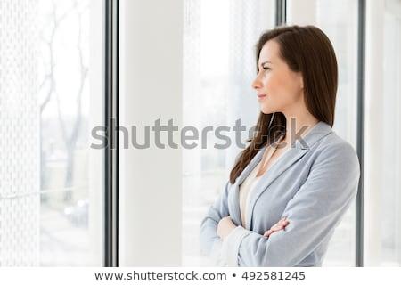 Nachdenklich Geschäftsfrau Büro Papier Stock foto © wavebreak_media