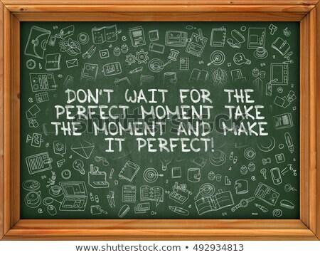 make it happen   hand drawn on green chalkboard stock photo © tashatuvango