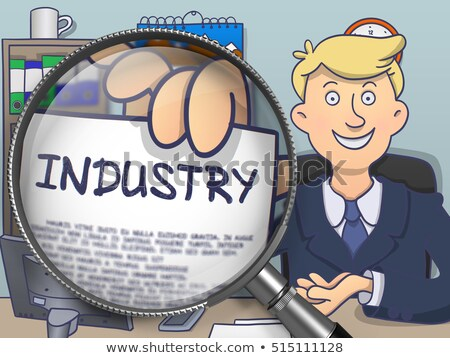 Industry through Magnifying Glass. Doodle Concept. Stock photo © tashatuvango