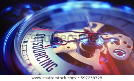 Terceirização ver cara ilustração 3d relógio de bolso texto Foto stock © tashatuvango