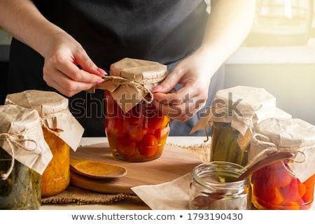 Konzerv savanyú káposzta illusztráció gyümölcs háttér művészet Stock fotó © bluering