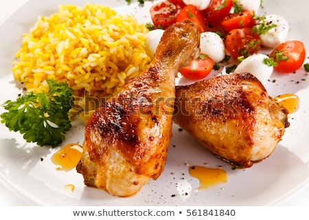 caril · de · frango · arroz · superfície · comida · vegetal - foto stock © tycoon