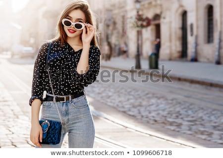 женщину джинсов черный блузка Сток-фото © acidgrey