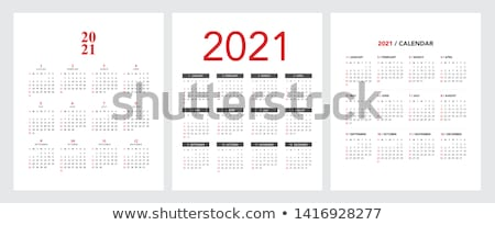 Calendar Grid for 2021 year on white background. Portrait and landscape orientation layout. Vector d Stock photo © kyryloff