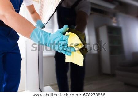 man · schoonmaken · plank · doek · home · huishouden - stockfoto © andreypopov