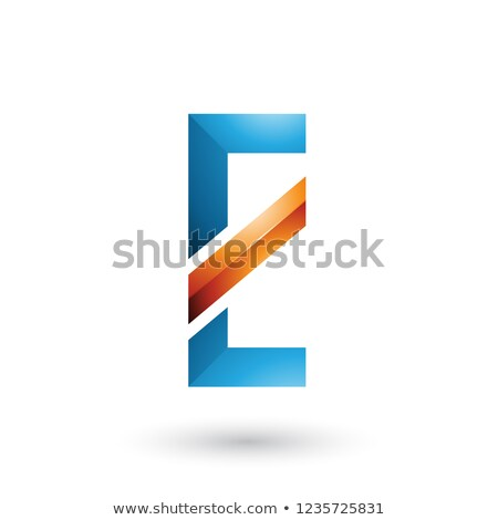 Blue and Orange Letter E with a Diagonal Line Vector Illustratio Stock photo © cidepix