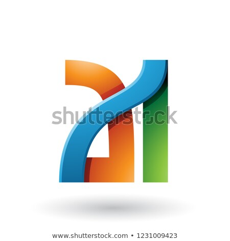 Orange and Green Bold Dual Letters A and I Vector Illustration Stock photo © cidepix