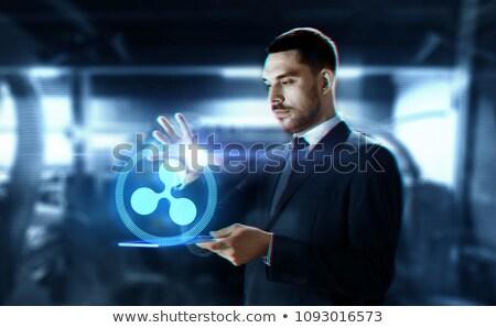 Biznesmen Ripple hologram działalności przyszłości Zdjęcia stock © dolgachov