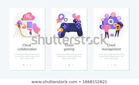 Samenwerking app interface sjabloon zakenlieden handdruk Stockfoto © RAStudio