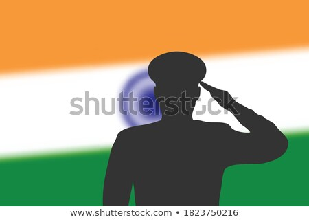 ejército · India · marco · guerra · servicio · silueta - foto stock © vectomart