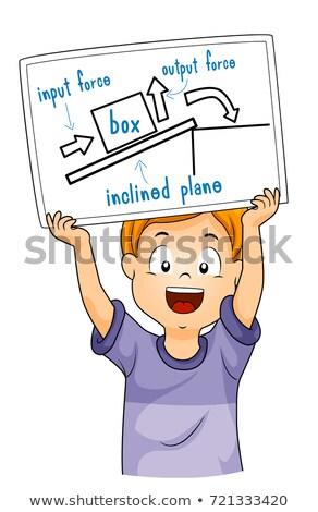 Kid Boy Drawing Inclined Plane Blueprint Stock photo © lenm