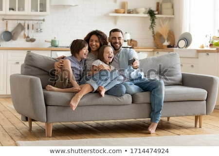 Happy Family Mother Father Small Daughter Shopping Stock photo © robuart