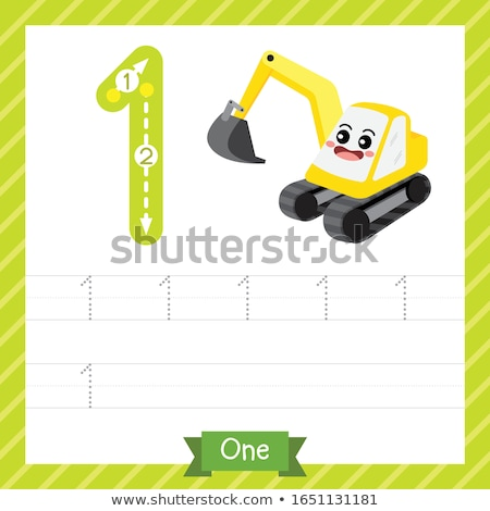 Counting worksheet with numbers and pictures Stock photo © colematt