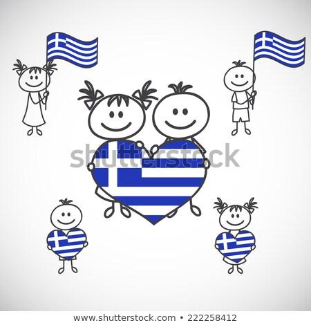 Ragazzo ragazza bandiera Grecia illustrazione bambino Foto d'archivio © colematt