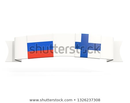 Banner with two square flags of Russia and finland Stock photo © MikhailMishchenko