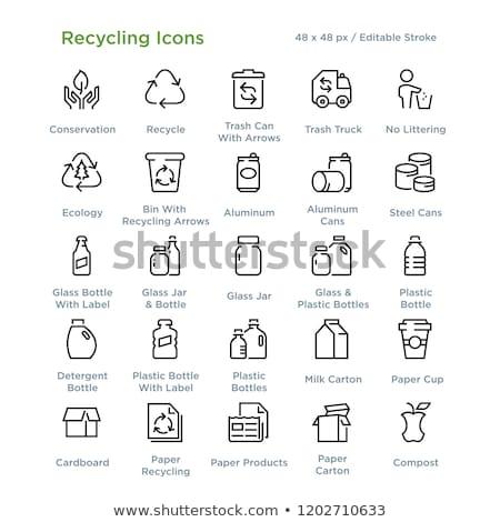 Vektör ayarlamak geri dönüşüm çöp imzalamak temizlemek Stok fotoğraf © olllikeballoon