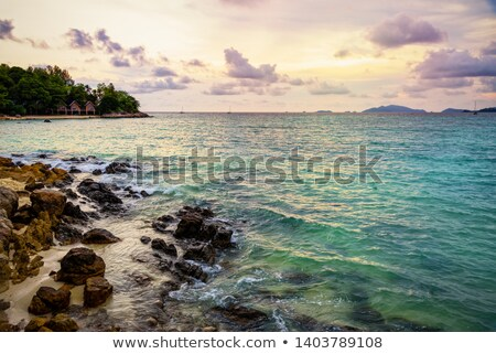 Gün batımı deniz ada Tayland güzel doğa Stok fotoğraf © Yongkiet