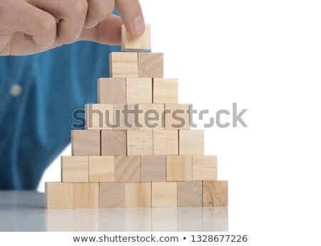 Toevallig man houten baksteen top toren Stockfoto © feedough