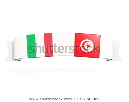 баннер два квадратный флагами Италия Тунис Сток-фото © MikhailMishchenko
