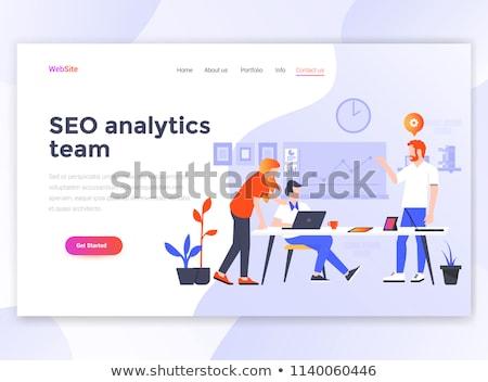 Stockfoto: Marketing · team · landing · pagina · sjabloon · digitale