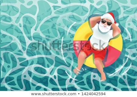 Foto stock: Alegre · Navidad · papá · noel · salvavidas · vector · agua