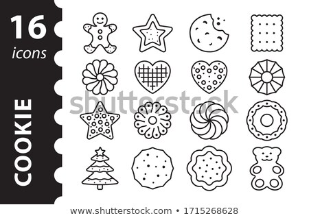 Stock photo: Merry Christmas Snowman Gingerbread Cookie Icon