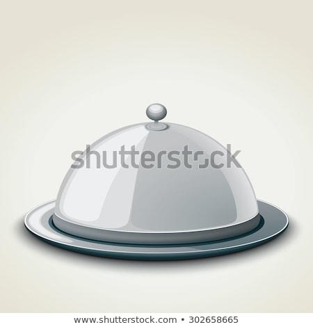 Silver Plate Platter Domed Cloche Food Cartoon Stock photo © Krisdog