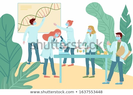 Scientist in science education research lab. Flat vector illustration Stock photo © makyzz
