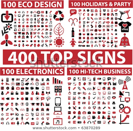 Stock photo: Red business icons design