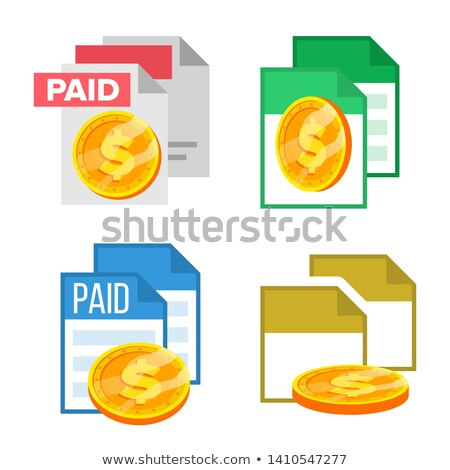 paid receipte document file and coin set vector stock photo © pikepicture