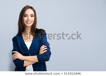 güzel · kadın · gülen · silah · güzel · genç · kadın · ayakta - stok fotoğraf © nyul