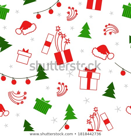 christmas seamless pattern with holiday toys and symbols in flat stock photo © swillskill