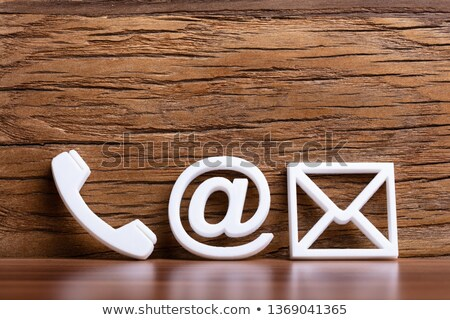 Email, Envelope, Phone, Icons On Wooden Desk Stock photo © AndreyPopov
