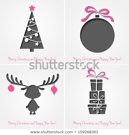 Christmas card of 3d paper holiday decoration Stock photo © cienpies