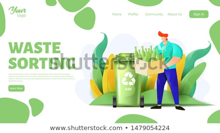 Man Holding Can, Garbage Sorting Vector Image Stock photo © robuart