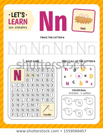 how to write letter N workbook for children Stock photo © izakowski