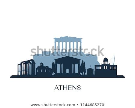 Outline Athens Skyline with Blue Buildings Stock photo © ShustrikS