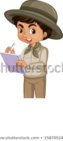 Fiú szafari fehér illusztráció gyerekek gyermek Stock fotó © bluering