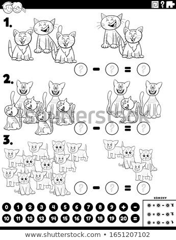 subtraction educational task with cats color book page Stock photo © izakowski