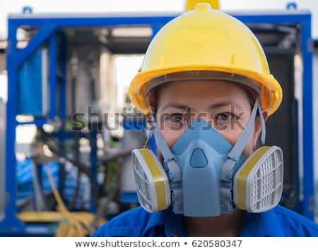 Worker with protective respirator Stock photo © olira