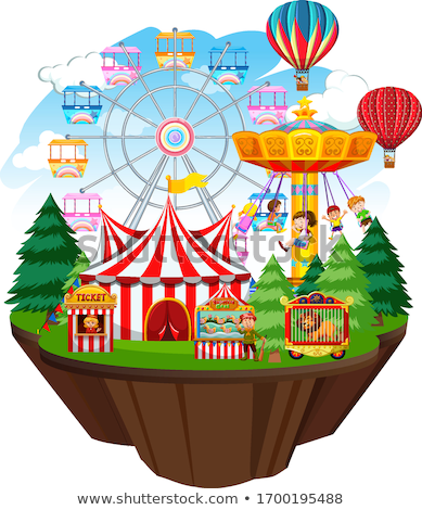 Themepark scene with many rides on islands Stock photo © bluering
