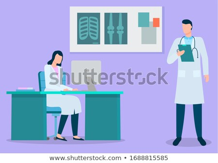 Doctors Working at Xray, Radiographical Cabinet Stock photo © robuart