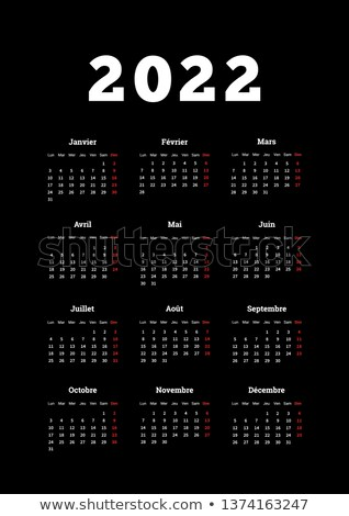 2022 year simple calendar on french language, A4 size vertical sheet on dark background Stock photo © evgeny89